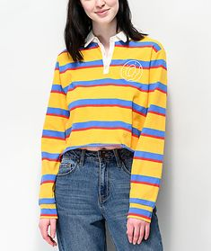 Classy and edgy rolled into one, the Odd Future Striped Crop Long Sleeve Polo Shirt is a fresh fashion statement. Multicolor horizontal stripes line the entirety, while a flirtatious cropped silhouette comes with an unfinished hemline for additional fashi Collared Shirt Outfits, Outfits With Striped Shirts, Striped Long Sleeve Shirt, Long Sleeve Polo, Long Sleeve Shirts, Polo Outfit, Stripped Shirt, Crop Shirt, Polo Shirt
