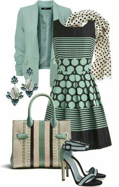 Komplette Outfits, Casual Outfits, Fashion Outfits, Womens Fashion, Fashion Trends, Green Outfits, Striped Outfits, Polyvore Outfits, Skirt Outfits