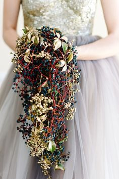 How to rock the gold accents: painted gold berries // Nutcracker Ballet Styled Shoot by Debbie Lourens & Green Goddess flower studio Ballet Wedding, Boquette Wedding, Floral Wedding, Wedding Bouquets, Wedding Flowers, Purple Bouquets, Cricut Wedding, Flower Bouquets, Autumn Wedding
