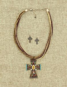 Brown and Gold Beaded Cross Necklace and Earring Set #WesternJewelry #WesternAccessories #WesternFashion #WesternStyle #CowgirlChic #WesternChic