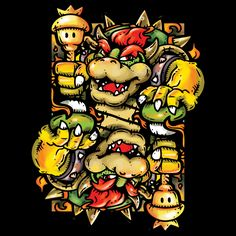 """""""Bowser Card"""" by TEEvsTEE Playing card design for the Super Mario Bros boss. Batman And Robin Costumes, Old Video, Donkey Kong, Super Mario Bros, Dark Knight, Bowser, Nintendo, Geek Stuff, Fan Art"""