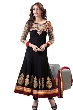 Bipasha Basu in Black Anarkali Fabric - Georgette Color - Black  Unstitched Reference : VLRBIP http://valehri.com/celebrity-sarees-salwar-kameez/867-bipasha-basu-in-black-anarkali-.html