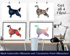 Irish Setter - Geometric Pattern Silhouette from Breed Collection - Digital Download Printable - Frameable 8x10