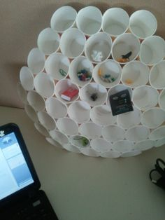 How to repurpose coffee cups into a cute desk organizer. plastic cups maybe?