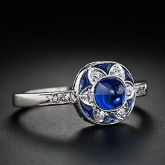 Art Deco sugarloaf sapphire and diamond ring, circa 1925. Such a pretty little ring.