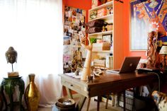 Amy Campbell's Travel-Inspired Townhouse House Tour | Apartment Therapy:  where all the magic happens...my home office for Brilliant Imports