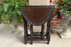 PETITE Antique English Oak Drop Leaf Tea Table Sutherland Baluster Legs  #Victorian