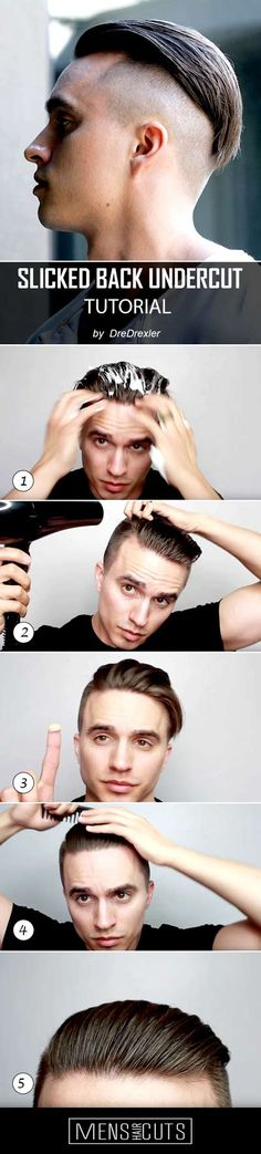 Step-By-Step Tutorial On How To Style A Slicked Back Undercut <br> The slicked back undercut hairstyle comprehensive tutorial. Learn to create a trendy and elegant look in five easy steps. Slick Back Undercut, Undercut Long Hair, Slicked Back Hair, Undercut Hairstyles, Hairstyles With Bangs, Undercut Fade, Round Face Haircuts, Haircuts For Long Hair, Girl Haircuts