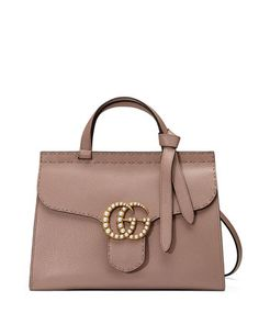 GG Marmont Small Pearly Top-Handle Satchel Bag, Nude by Gucci at Neiman Marcus.