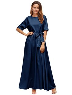 Royal Blue Tie Front Detail Maxi Dress