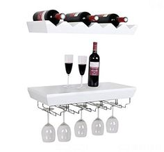 Welland White Wine Rack Floating Wall Shelf with Glass Holder