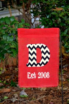 Monogrammed Burlap Garden Flag by DotDotDotEmbroidery on Etsy, $18.95