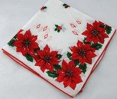 Vintage Handkerchief, Christmas Hankie for Crafting, Sewing, Framing, Quilting, Great Gift Idea, Quiting S-5 - Two Broads and a Shop - 1