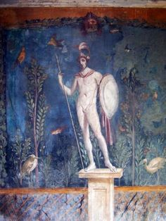 A fresco of Roman god, Mars. (From the House of Venus, Pompeii).