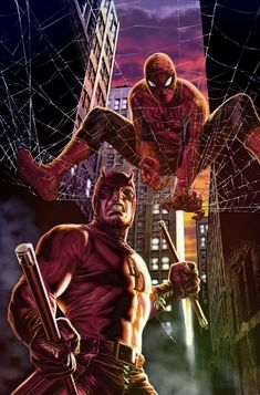 Spiderman and daredevil at Hell's Kitchen Marvel Dc Comics, Ms Marvel, Bd Comics, Marvel Art, Marvel Heroes, Captain Marvel, Comic Book Characters, Marvel Characters, Comic Character