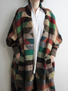 Multicolored sweater coat.