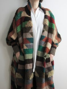 Multicolored sweater coat.