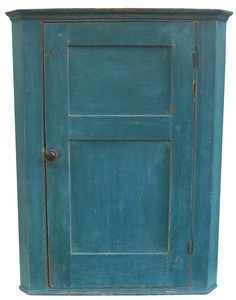 Early 19th century pine Small original blue painted Hanging Corner Cupboard found in Dover, York Co. Pennsylvania circa 1810 - 1820  countrytreasures1@verizon.net
