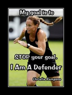 """Soccer Motivation Christie Rampone Photo Quote Poster Wall Art Print 8x11"""" -11x14"""" My Goal Is To Stop Your Goal - I Am A Defender -Free Ship"""