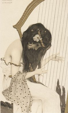 Harpist. Greek Virgins series (1900).Raphael Kirchner (Austrian,Art Nouveau, 1876-1917). Publisher Theodor Stroefer. Lithograph with metallic pigment on card stock. Postcard. Kirchner produced over a thousand published paintings and drawings, mostly in the form of picture postcards. Kirchner's often mildly erotic paintings of feminine beauty, in convenient postcard and magazine page form, were among the early pin-ups favored by European and American soldiers in WW I.