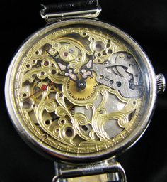Art Deco skeletonized wrist watch.