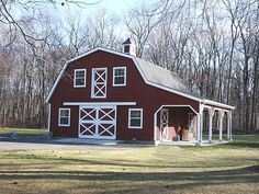 Barn Style Homes | Custom Barn with Gambrel roof, 10' wide overhang and loft. This barn ...