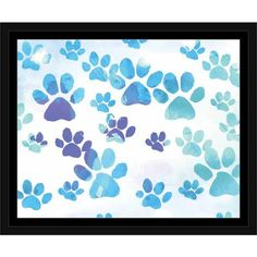 Paw Print Dog Cat Animal Pet Watercolor Painting Blue & White, Framed Canvas Art by Pied Piper Creative, Brown Paw Print Crafts, Paw Print Art, Dog Crafts, Wall Art Prints, Paw Prints, Dog Canvas Painting, Dog Paintings, Wall Canvas, Watercolor Canvas