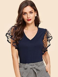 Shop Dot Mesh Sleeve V Neck Tee online. SHEIN offers Dot Mesh Sleeve V Neck Tee & more to fit your fashionable needs. Tee T Shirt, Plain Tees, Black Dots, T Shirts For Women, Clothes For Women, Ruffle Sleeve, Flutter Sleeve, Black Blouse, Casual Tops