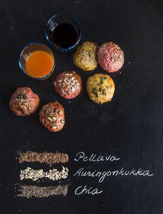 Terveelliset siemensämpylät, Superhealthy rolls with seeds – Ruoka. Baking Recipes, Seeds, Rolls, Personalized Items, Anna, Food, Cooking Recipes, Bread Rolls, Essen