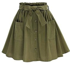 2017 New Arrival Summer Women's Skirts Vintage High Waist Pocket Solid Bowmodkily 2017 neue Ankunft Sommer Frauen Röcke Vintage Hohe Taille Tasche Solide Bowmodkily Green Skater Skirt, Olive Green Skirt, Green Skirts, Skirt Outfits, Cute Outfits, Minimalist Outfit, Vintage Stil, Cotton Skirt, Linen Skirt