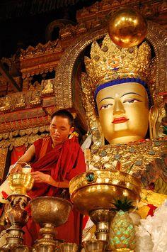 Tibet Monk by Buddha statue Buddha Buddhism, Buddhist Monk, Tibetan Buddhism, Buddhist Temple, Buddhist Art, Dalai Lama, Tibet People, Religion, Tibet