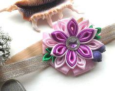 Items similar to Baby Girl Headband/ Flower Head Band/ Baby Girl Hair Accessory/ Kanzashi fabric flowers/Yellow Headband/Kanzashi Headband on Etsy