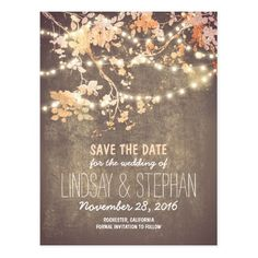 SAVE THE DATE POSTCARD Fall Autumn Pretty Chic String Lights Tree Rustic Country Pretty Personalized Wedding Announcement Save The Date Post Card