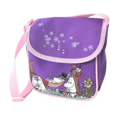 A pretty Moomin shoulder bag with a long adjustable shoulder strap. The flap fastenes with a velcro pad. Size: 20x19x10 cm