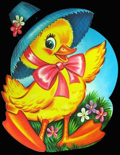 "1963 Dennison 'Easter Duck' Die Cut Decoration. Two Sizes: 10 3/4"", 16"""