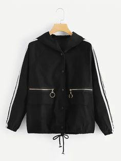 To find out about the Contrast Tape Side Drawstring Hem Hooded Jacket at SHEIN, part of our latest Jackets ready to shop online today! Casual Outfits, Cute Outfits, Fashion Outfits, Sweater Jacket, Hooded Jacket, Coats For Women, Clothes For Women, Mode Simple, Mode Hijab