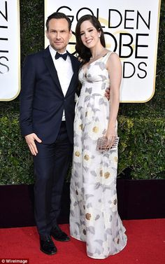 Date night: Christian Slater and Brittany Lopez (left) joined actress Brie Larso and musician Alex Greenwald