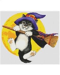 Catty Halloween is a cross stitch chart based on the artwork of LA Berry and designed by Jamie Larson. This chart is perfect for any fabric count because it is designed using only full stitches. Perfect to show off your favorite fabric color. #halloween #crossstitch #cat