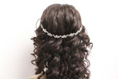 Wedding hair chain bridal hair chain bridal head chain wedding head chain bridal hair comb bridal hair comb wedding hair jewelry Rhinestone and pearl Wedding hair chain This beautiful headpiece is made with Swarovski pearls and Rhinestone, attached by two clips . The chain size: size one: 0.5 wide x 9 long ( size show in pictures) size two: 0.5 wide x 11 long Please choose preferred size when you place order. Color: - Silver Tone with ivory pearl - Silver Tone with white pearl   To see more…