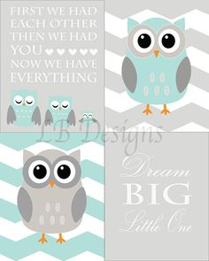 Set of 4 Gender Neutral Aqua and Gray Owl Nursery by LJBrodock, $35.00 Woodland nursery