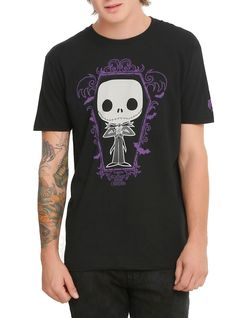 """<p><span id=""""webDesc"""">Jack Skellington is given a fun, and funky, stylized look on this Pop! tee! Includes a mini standee collector card.<br /> <br /> Hot Topic exclusive!</span></p>  <ul> <li>100% cotton</li> <li>Wash cold; dry low</li> <li>Imported </li> <li>Listed in men's sizes</li> </ul>"""