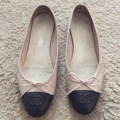 Chanel ballet flat Pre-owned fair condition. Marked a size 38 but I wear a 6.5/7 and it fits perfectly. Not sure if I want to let go just yet. Feel free to make a reasonable offer. CHANEL Shoes Flats & Loafers