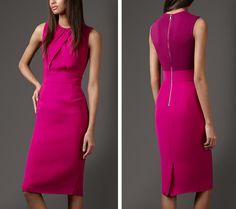 pink dresses for women   Elegant Pink Dress of Burberry Folded Silk Dress for Women Fashion ...