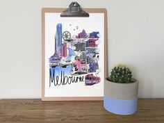 Melbourne City A3 hand watercolour painted & by VicinityStore