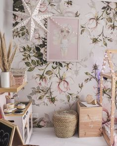 Beautiful pink room decoration, lovely vintage style, good for kids and romantic soulds. Modern home decor with a removable wall mural Vintage Decor, Vintage Style, Vintage Ideas, Mattress Frame, Removable Wall Murals, Rose Wallpaper, Pink Room, Traditional Furniture, Pink Walls