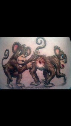 2226701f432 Lol tattoo Belly Button Tattoos, Stomach Tattoos, Monkey Tattoos, Cartoon  Tattoos, Circle