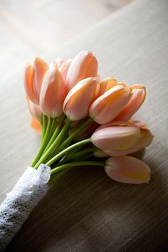 Spring wedding flowers - peach tulips - bouquet