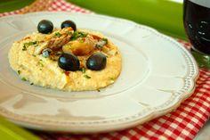 Cinco Quartos de Laranja: Bacalhau em azeite e alho com puré de grão