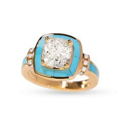 Turquoise Halo Ring with Cushion Cut Diamond