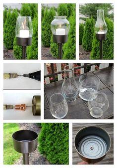 Lanternas para jardim feitas com latas de atum - DIY